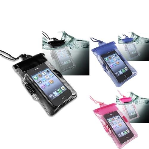 Insten 3 packs of Waterproof Bag Cases: Black/Blue/Hot Pink for Cell Phone/PDA with size of 127 x 76 mm/5 x 3 inches