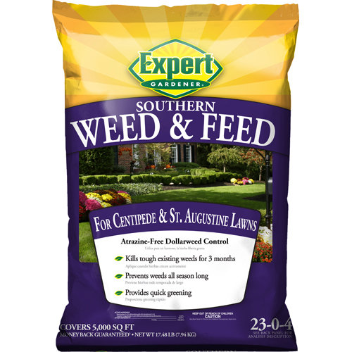 Expert Gardener 5,000 sq ft Weed & Feed Lawn Fertilizer for Southern Lawns (23-0-4), 17.43 lbs