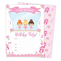 Ballerina Style 1 Happy Birthday Invitations Invite Cards (25 Count) with Envelopes & Seal Stickers Boys Girls Kids Party