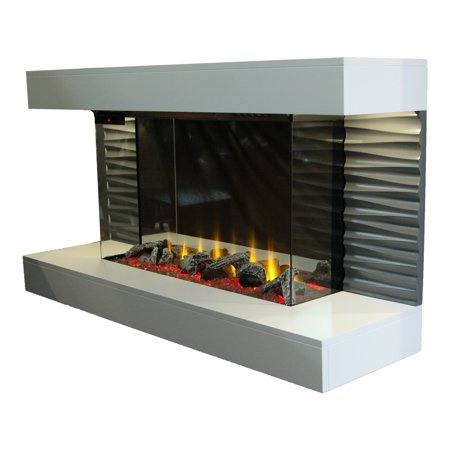 "44"" Contemporary Freestanding Fireplace with 3D Flame and Remote Control"