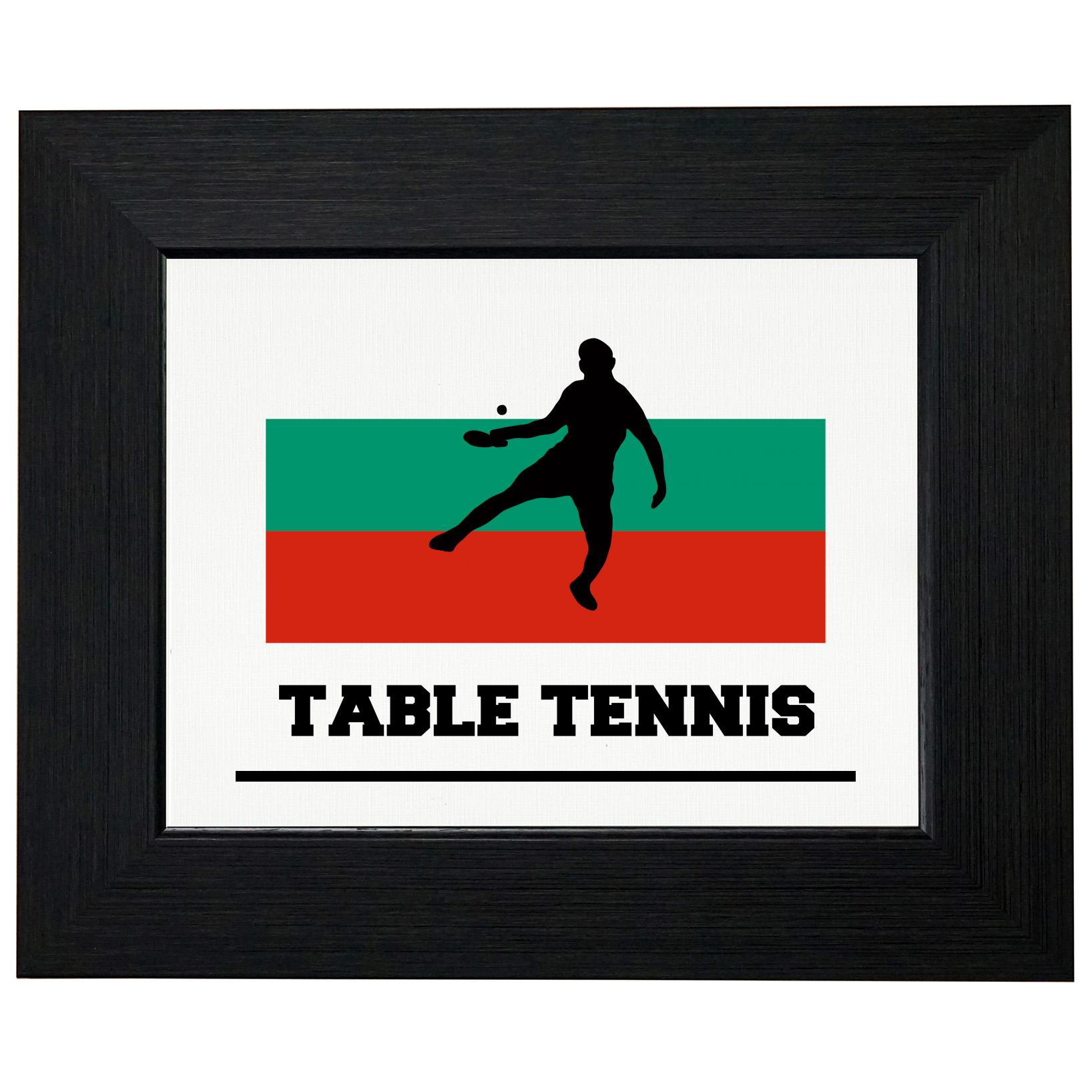 Bulgaria Olympic Ping Pong Flag Silhouette Framed Print Poster Wall or Desk Mount Options by Royal Prints