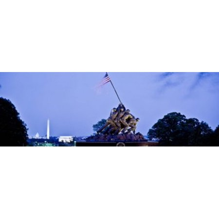 Iwo Jima Memorial At Dusk With Washington Monument In The Background Arlington National Cemetery Arlington Virginia Usa Poster Print