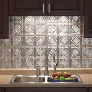 Fasade  Traditional Style #4 Backsplash in Crosshatch Silver 18-square-foot Kit