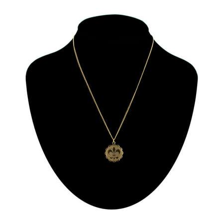 Gold Tone French Fleur De Lis Scalloped Charm Pendant Necklace