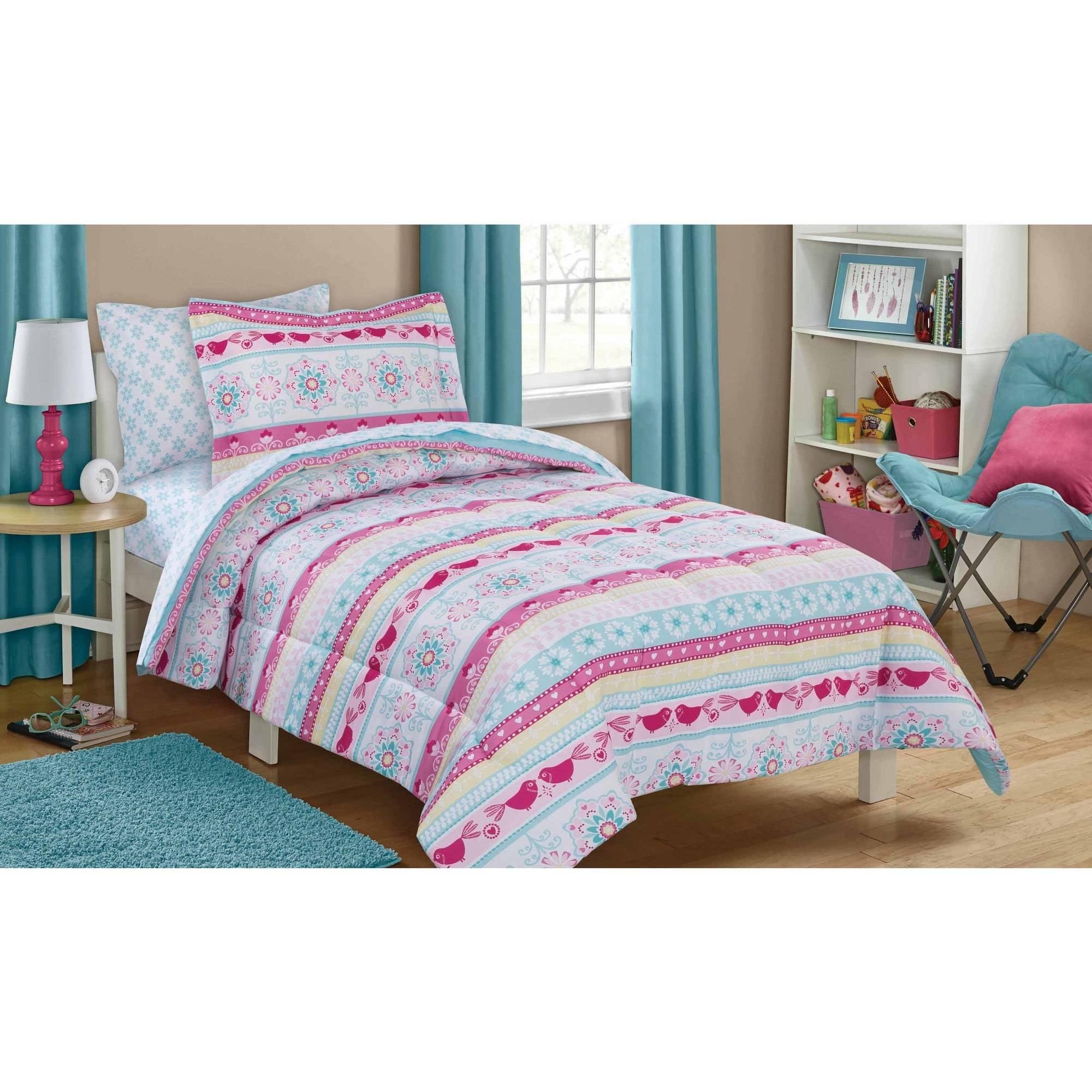 Mainstays Kids Folkloric Stripe Bed in a Bag Bedding Set