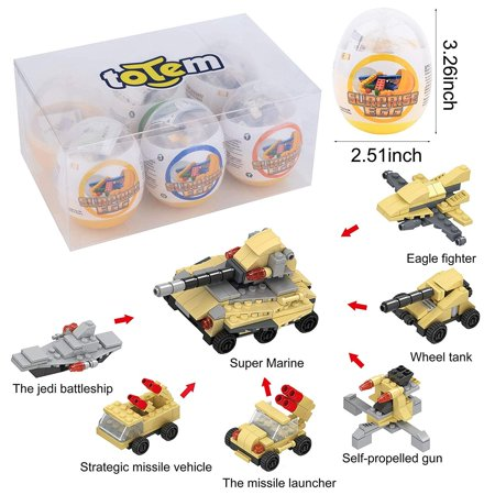 6 Filled Easter Eggs Building Toys - Army Vehicle Set - Age 6-12 Learning Educational Inside 3