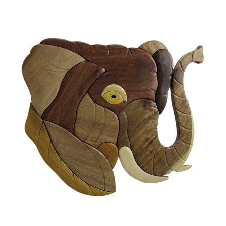 Trunk Up Elephant Head Hand Crafted Intarsia Wood Art Wall - Elephant Crafts