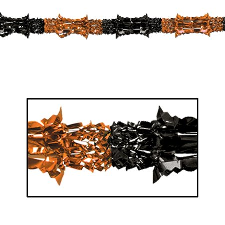 Club Pack of 12 Metallic Orange and Black Halloween Garland Party Decorations 9' - Unlit