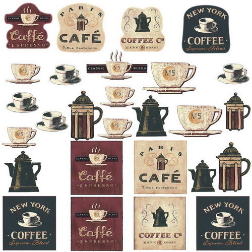 COFFEE HOUSE 31 BiG Wall Stickers Room Decor Kitchen Labels Cups Pot Sign Decals