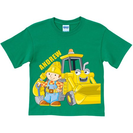 Personalized Bob The Builder Here Goes  Scoop Toddler Green T Shirt