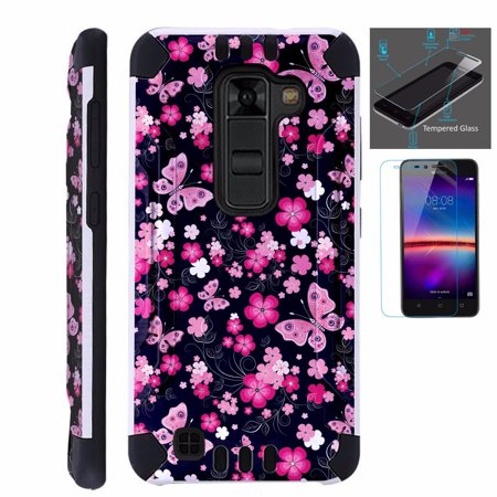 For LG Stylo 2 Plus MS550 (Metro PCS / T-Mobile Only) Case + Tempered Glass  Screen Protector / Slim Dual Layer Brushed Texture Armor Hybrid TPU
