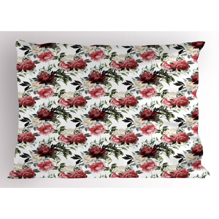 Shabby Chic Pillow Sham Floral Flower Roses Buds with Leaves and Branches Art Print, Decorative Standard Queen Size Printed Pillowcase, 30 X 20 Inches, Red Maroon and Olive Green, by