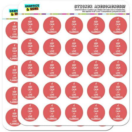 Keep Calm And Love Flamingos Pink Bird 50 1  Planner Calendar Scrapbooking Crafting Stickers