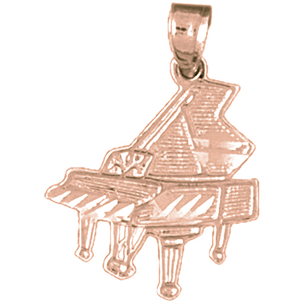 Rose Gold-plated 925 Sterling Silver Piano Pendant - 22 mm (Approx. 0.935 grams)
