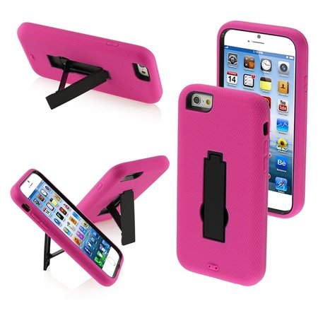 Insten Black/Hot Pink Symbiosis Stand Cover Hybrid Hard Shockproof Case Stand For iPhone 6S 6 4.7'' inch