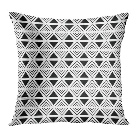 ECCOT American Abstract Geometric Black and White Aztec Pattern Triangle and Line Baby Cute Disco Ethnic Pillow Case Pillow Cover 16x16 inch