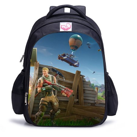5c1a36636bdf6 AUKUK - 3D Fortnite Backpack Battle Royale School Bag Cartoon ...