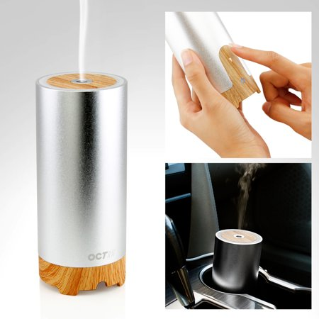 Oct17 Mini Usb Car Essential Oil Diffuser, Aromatherapy Aluminum Wooden Portable Mini Sliver Ultrasonic Cool Mist Aroma Air Humidifier for Home,Office, Car,Travel, Yoga ,