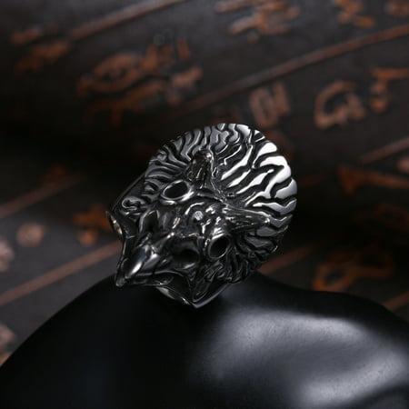 Men Creative Fashion Owl Titanium Steel Ring Unique Hand Decoration Size12 - image 2 de 7