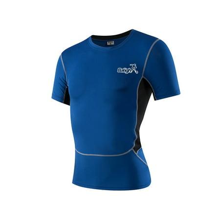 CHLTRA Quick-Dry Men Jogging Shirt GYM Running Climbing T-Shirts Short Sleeve Workout Bodybuilding Training Sport Shirts ()