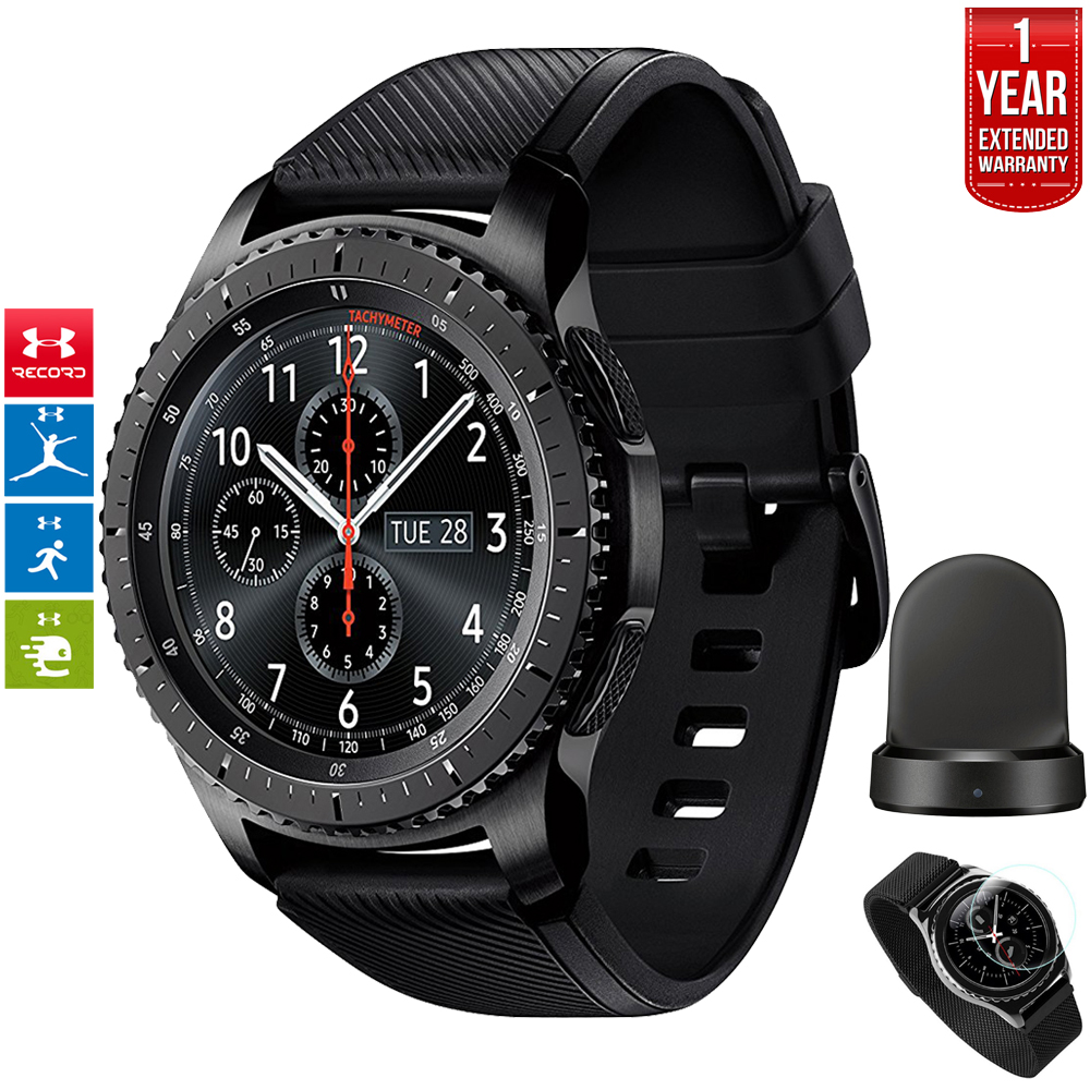 Samsung Gear S3 Frontier Bluetooth Watch with Built-in GPS Dark Gray (SM-R760NDAAXAR) with Wireless Charger Bundle + 1 Year Extended Warranty