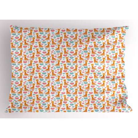 Giraffe Pillow Sham Lovely Cartoon Giraffe Characters with Pastel Colored Hearts Childish and Romantic, Decorative Standard Size Printed Pillowcase, 26 X 20 Inches, Multicolor, by - Giraffe Pastel