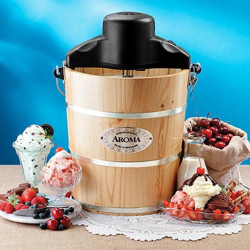 Aroma 4qt Wood Barrel Ice Cream Maker