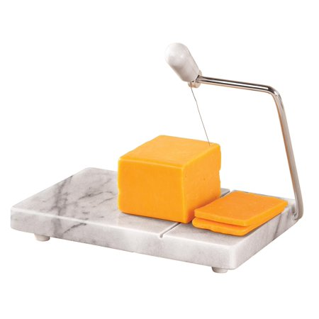 "Marble Cheese Slicer & Serving Tray, 8"" x 5"", Gray Marble with Steel Arm ()"