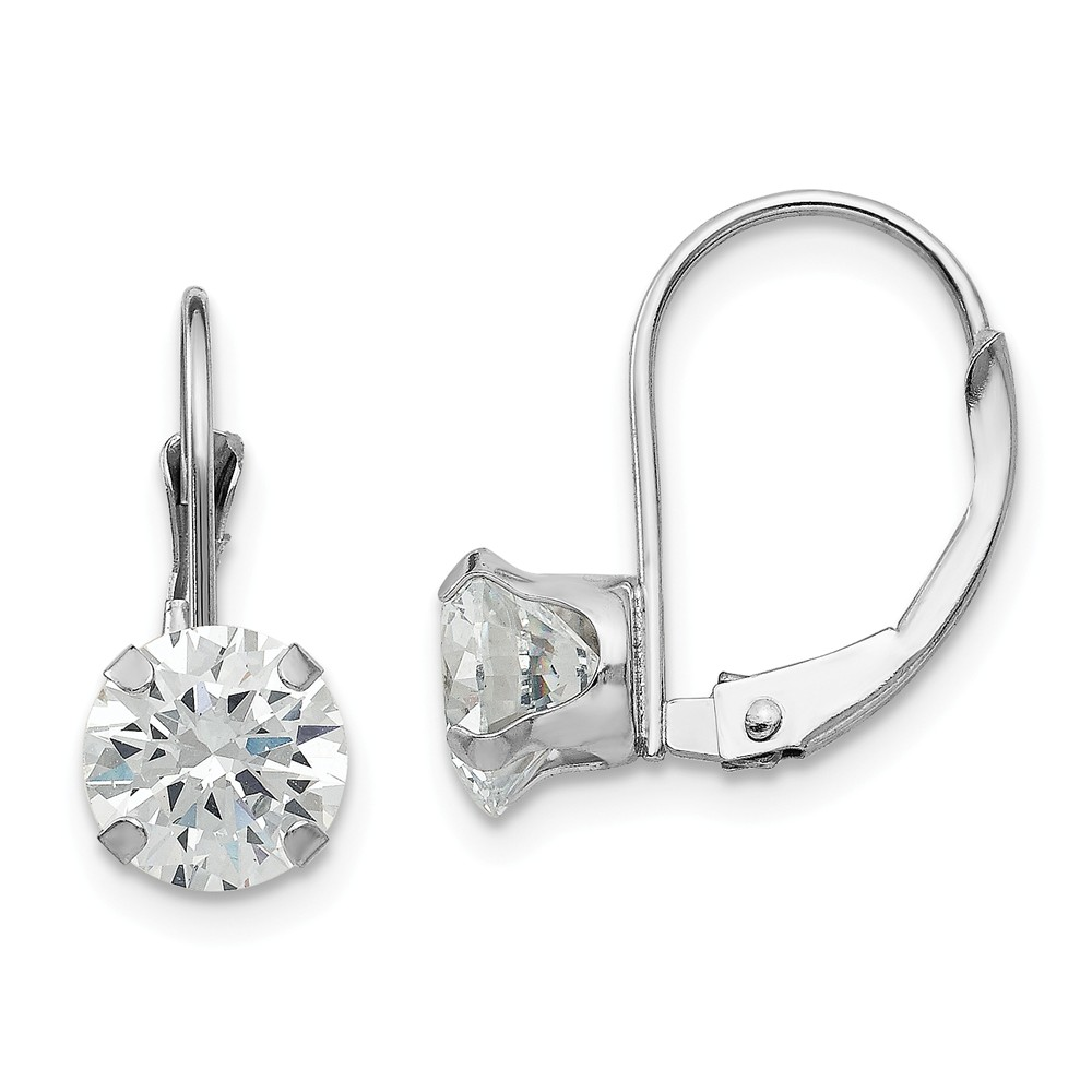 14k White Gold 0.7IN Long Childs CZ Leverback Earrings