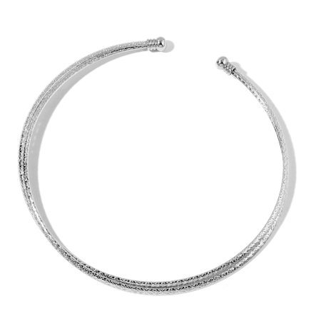 Natural Iron Bowl Pendant (Stainless Steel Engraved Double Collar Fashion Statement Necklace Pendant for Women Size 14