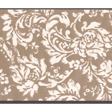 Modern White Floral Pattern Brown Damask Wallpaper Border Vintage Design, Roll 15' x 6''