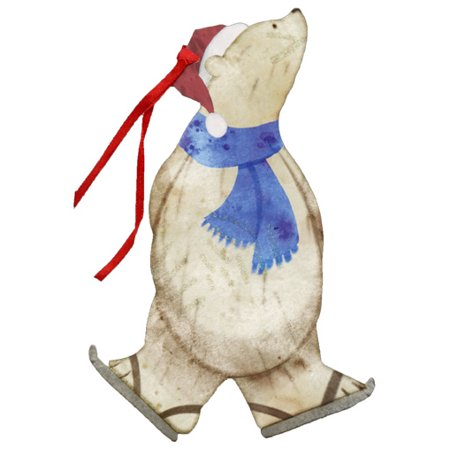LPG Greetings Polar Bear with Ice Skates Keepsake Ornament Box of 12 Christmas Cards