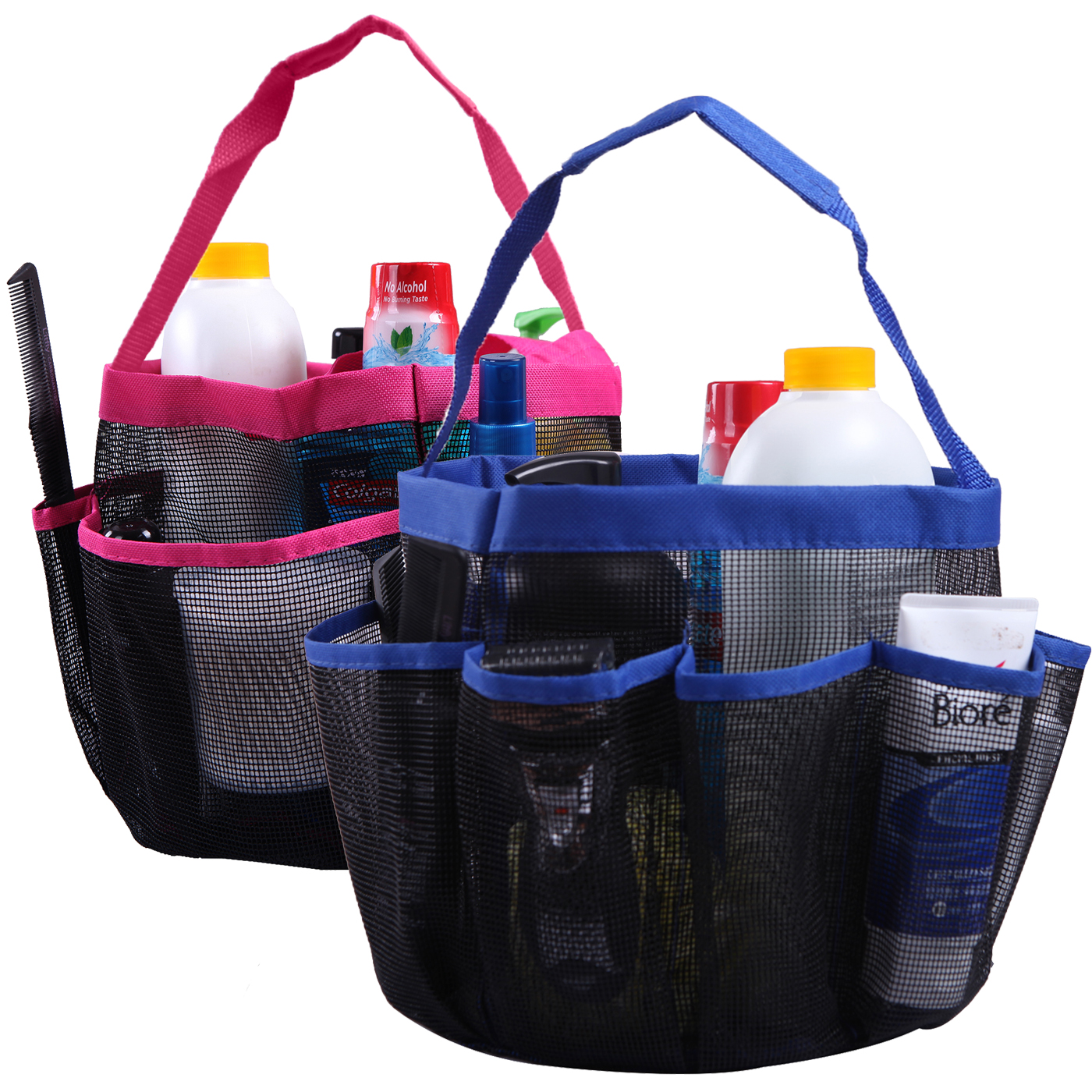 HDE Shower Caddy Mesh Bag College Dorm Bathroom Carry Tote Hanging Organizer 2 Pack... by HDE