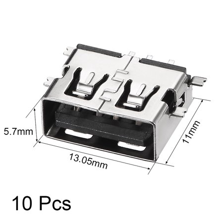 USB-AF PCB Connector Female Jack 11mm Short Body Sinking Plate SMT SMD 10pcs - image 2 de 4