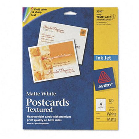Avery Textured Postcards, Inkjet, Heavyweight, 4 1/4 x 5 1/2, Matte White, 120/Box
