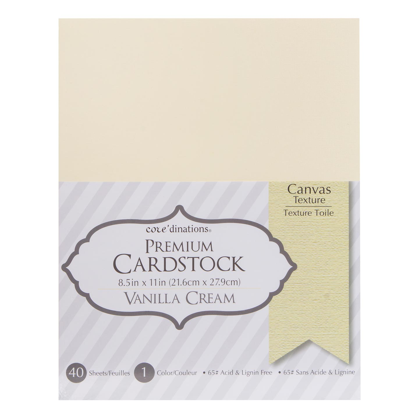 Cardstock Valuepack Vanilla Cream 65Lb Textured 8.5X11 40Pack