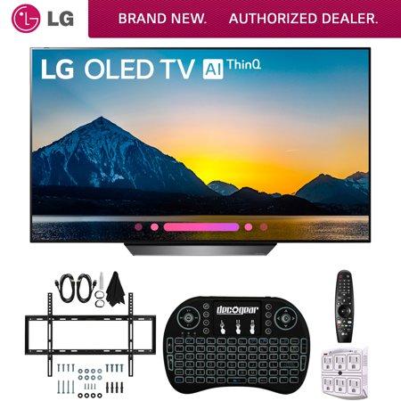 LG B8PUA 55 OLED 4K HDR AI Smart TV with Wireless Keyboard + Wall Bracket & HDMI Cables (55B8PUA OLED55B8P OLED55B8)