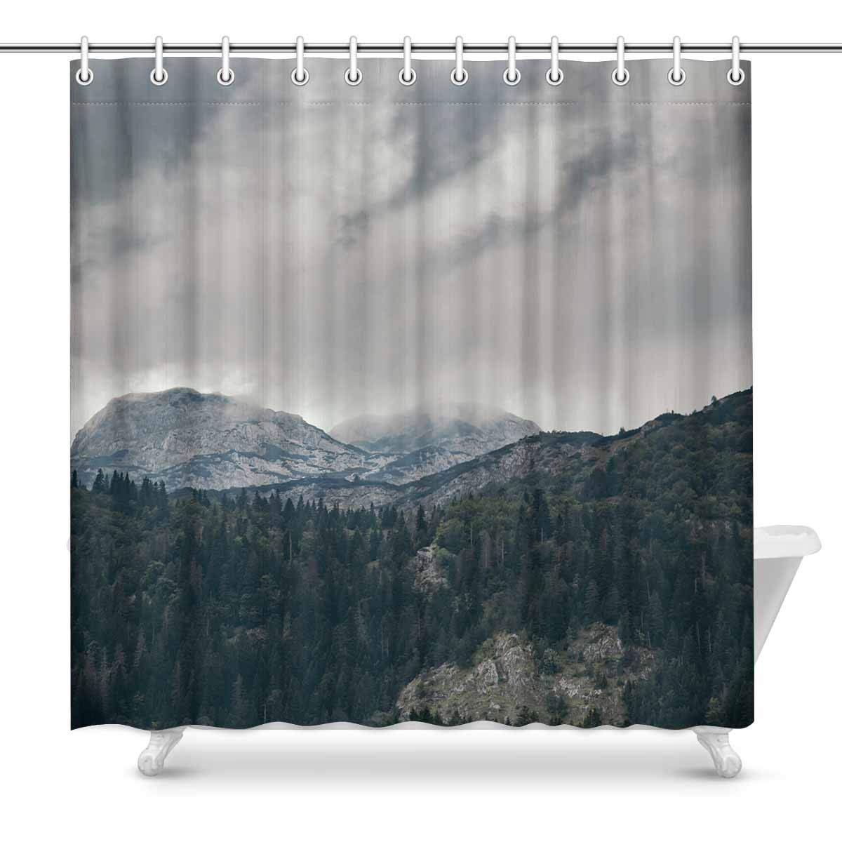 Gckg High Mountain Cloudy Sky Shower Curtain Beautiful Nature Landscape Polyester Fabric Shower Curtain Bathroom Sets 66x72 Inches