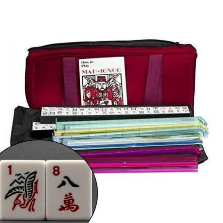 Brand New American Mahjong Set in Burgundy Bag, 4 Pushers Racks Western Mahjongg (Mahjong Halloween)