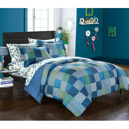 American Original Geo Blocks Bed in a Bag Bedding Comforter Set, Queen