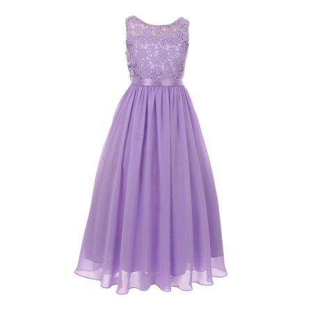 Girls Lilac Satin Sash 3D Lace Chiffon Stylish Junior Bridesmaid Dress Chiffon Junior Bridesmaid Dresses