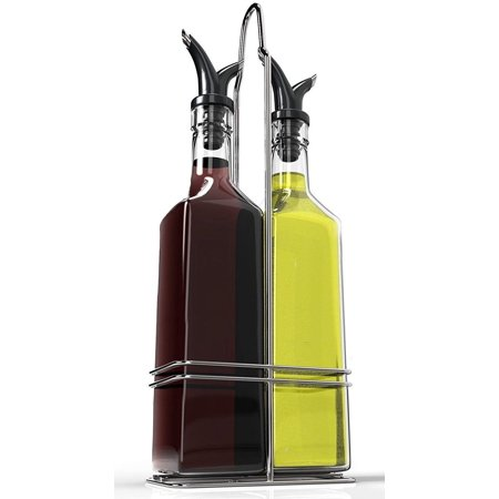 [2 Sets] Royal Oil and Vinegar Bottle Set with Stainless Steel Rack with Removable Cork