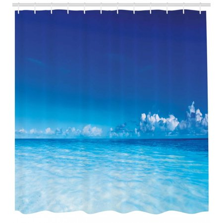 Landscape Shower Curtain Ocean Scenery Deep Sea Beach Hot Summer Themed Photo Fabric Bathroom