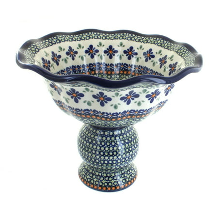 Polish Pottery Mosaic Flower Pedestal Fruit Bowl