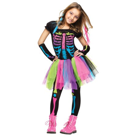 Girls Funky Bones Costume: Tween Girls Skeleton Halloween Costume  LG 12-14 - Skelton Costumes