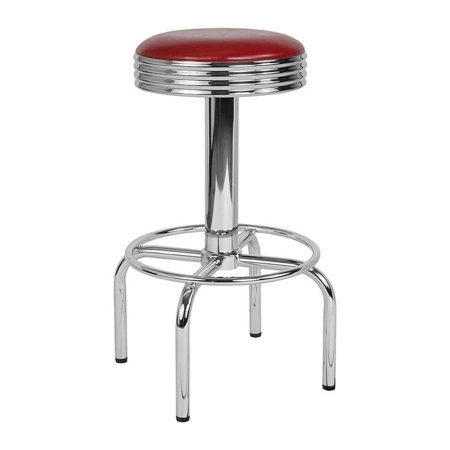 Offex  Traditional Retro Diner Swivel Barstool with Chrome Base in Red Vinyl Upholstery