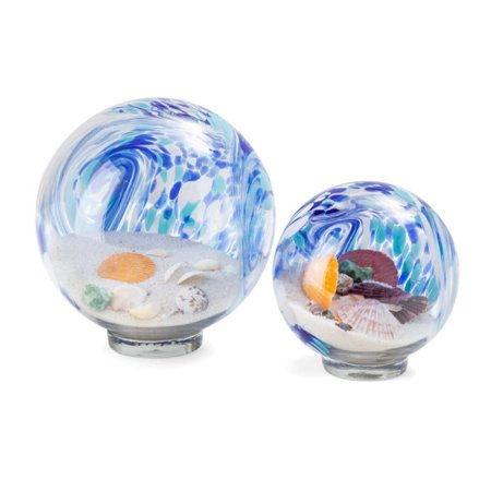 Set of 2 Blue and White Decorative Art Glass Globes 6.75