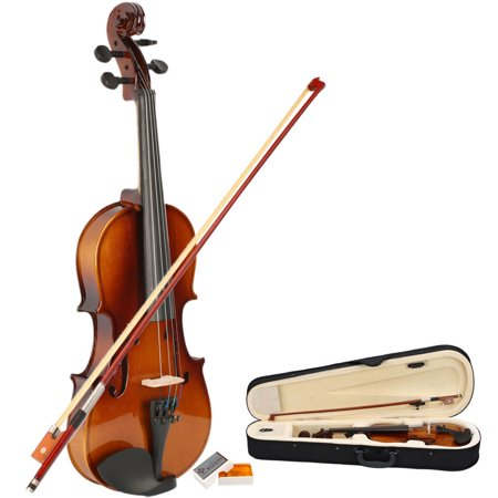Zimtown 1/2 Size Wood Acoustic Violin for Kid Children Natural Color with Case, Bow, Rosin