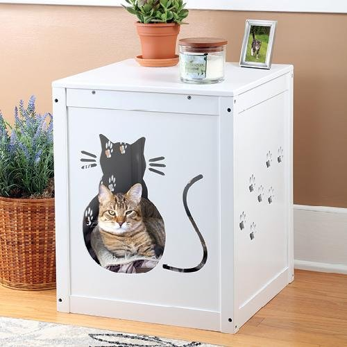 Gentil Etna Cat Kitty Litter Hide Away End Table Cabinet Box