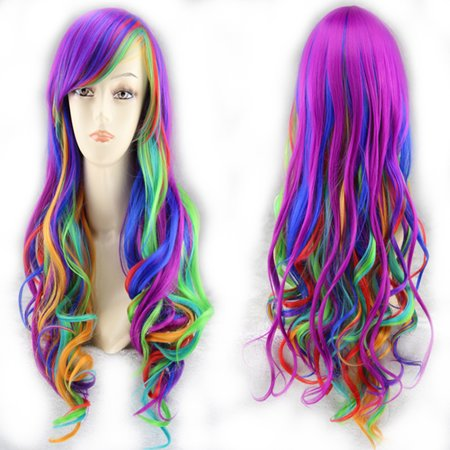 Anime Wigs For Sale (Clearance Woman Girl High-temperature Resistant Synthetic Fiber Sexy Long Wavy Rainbow Multi Color Wig for)